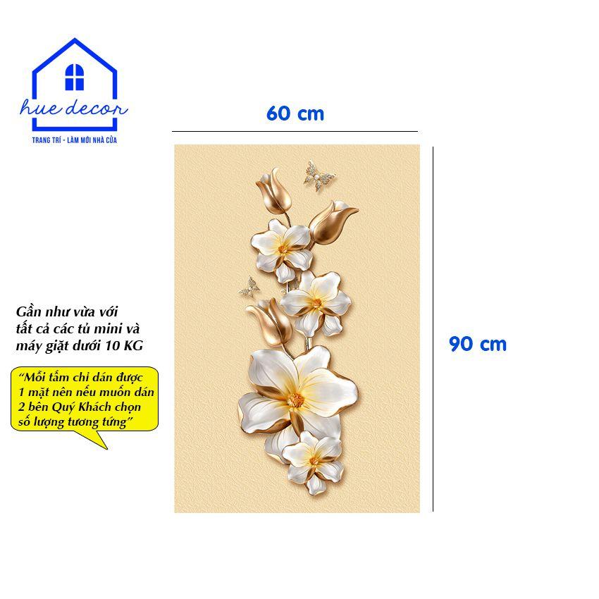 Decal dán tủ lạnh mẫu hoa lan trắng - Chất liệu chống nước, phù hợp với mọi loại tủ