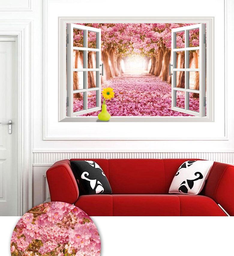 Decal dán tường Cửa sổ 3D con đường hoa anh đào AmyShop DCS017 ( 60 x 90 cm)
