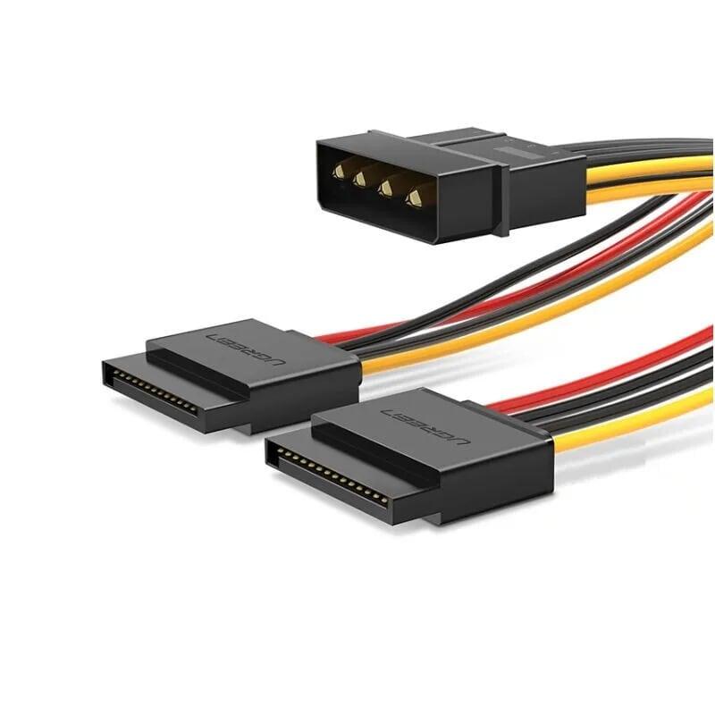 Cáp nguồn SATA 4 Pin sang 2 cổng SATA 15 Pin Splitter 20cm UGREEN USB50398Us127 Hàng chính hãng