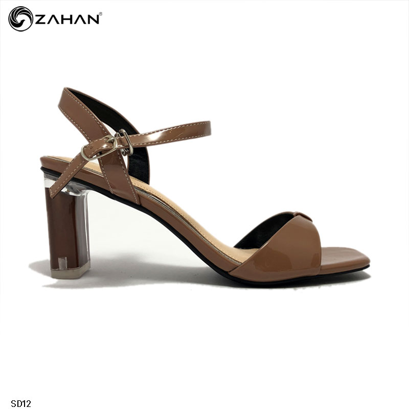 Sandal nữ 6cm, gót thạch, da bóng SD12