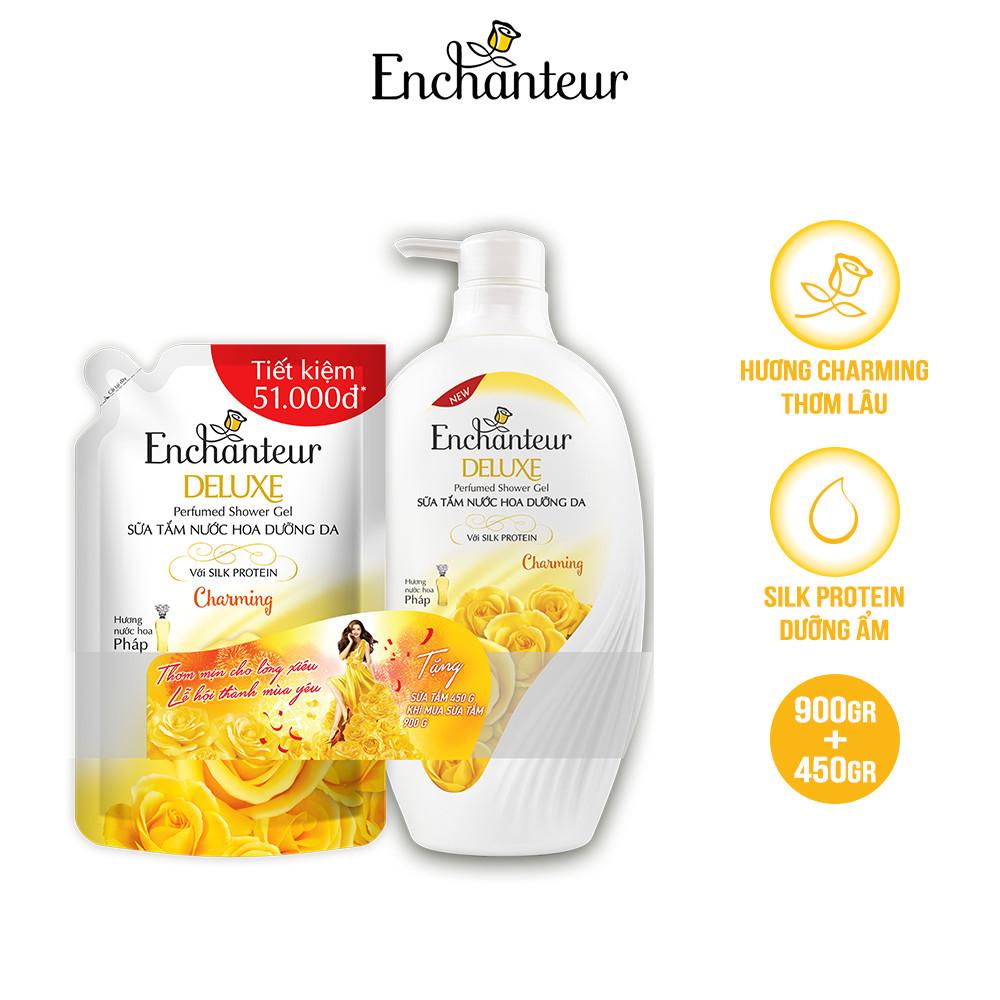 Sữa tắm nước hoa dưỡng da Enchanteur Charming 900gr - tặng túi sữa tắm 450gr NYP 2021