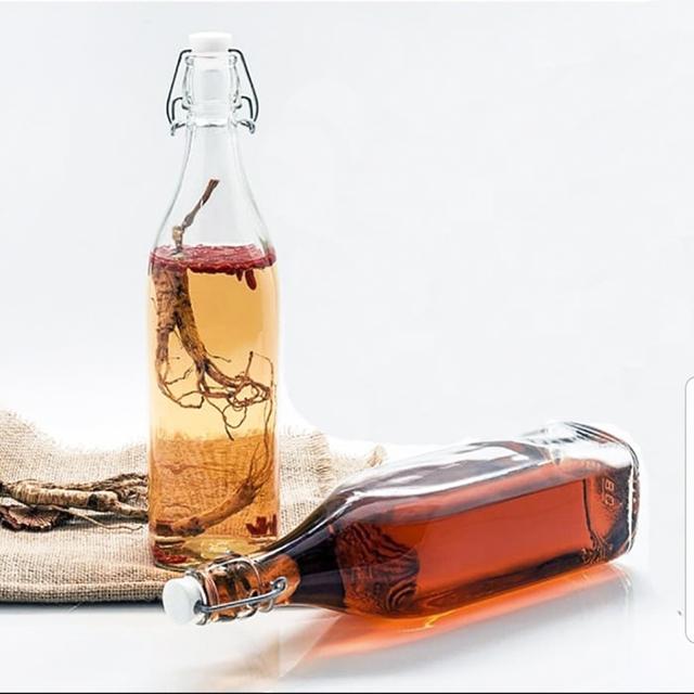 Bộ 2 chai thủy tinh vuông gọng sắt nắp gài 500ml, chai đựng nước. Cao 26cm.