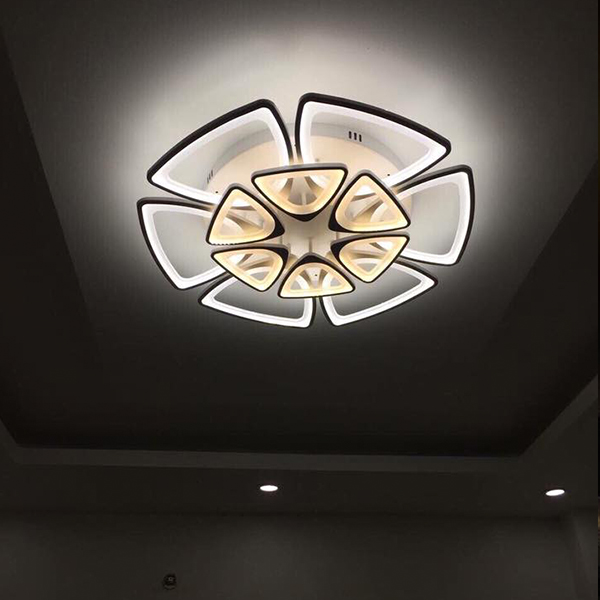 Đèn trần - đèn trần phòng khách - đèn trang trí nội thất cao cấp 12 cánh LED 3 màu ánh sáng