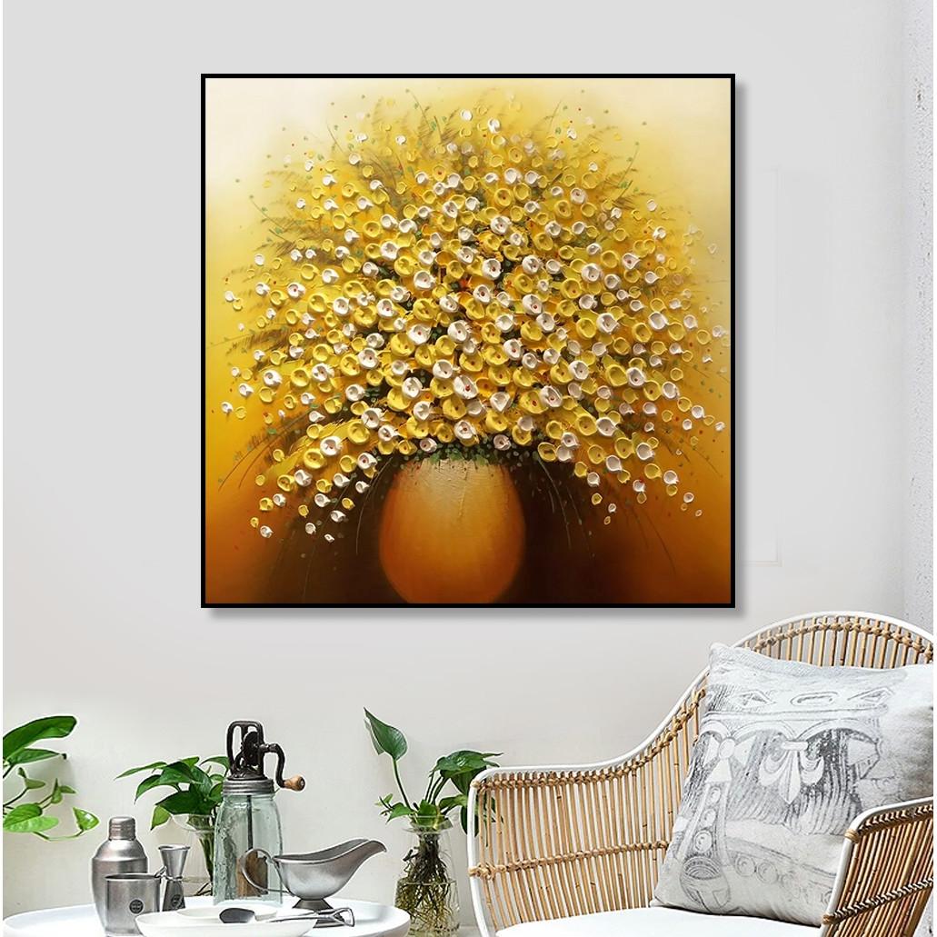 Tranh Trang Trí Lọ Hoa Vàng Treo Tường
