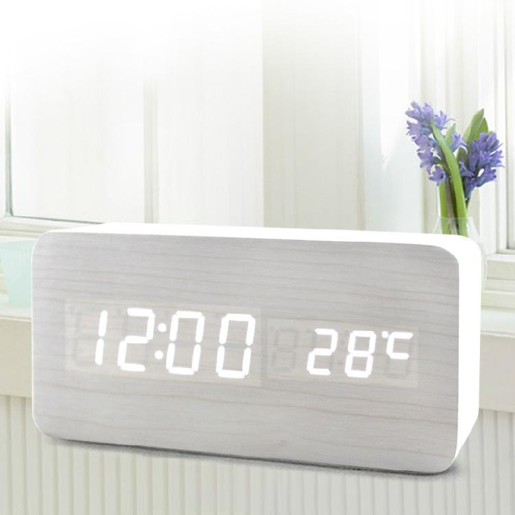 Đồng hồ gỗ để bàn hình khối chữ nhật mặt số hiển thị LED - Đo nhiệt độ phòng - Cảm biến Âm thanh GB-DHG03
