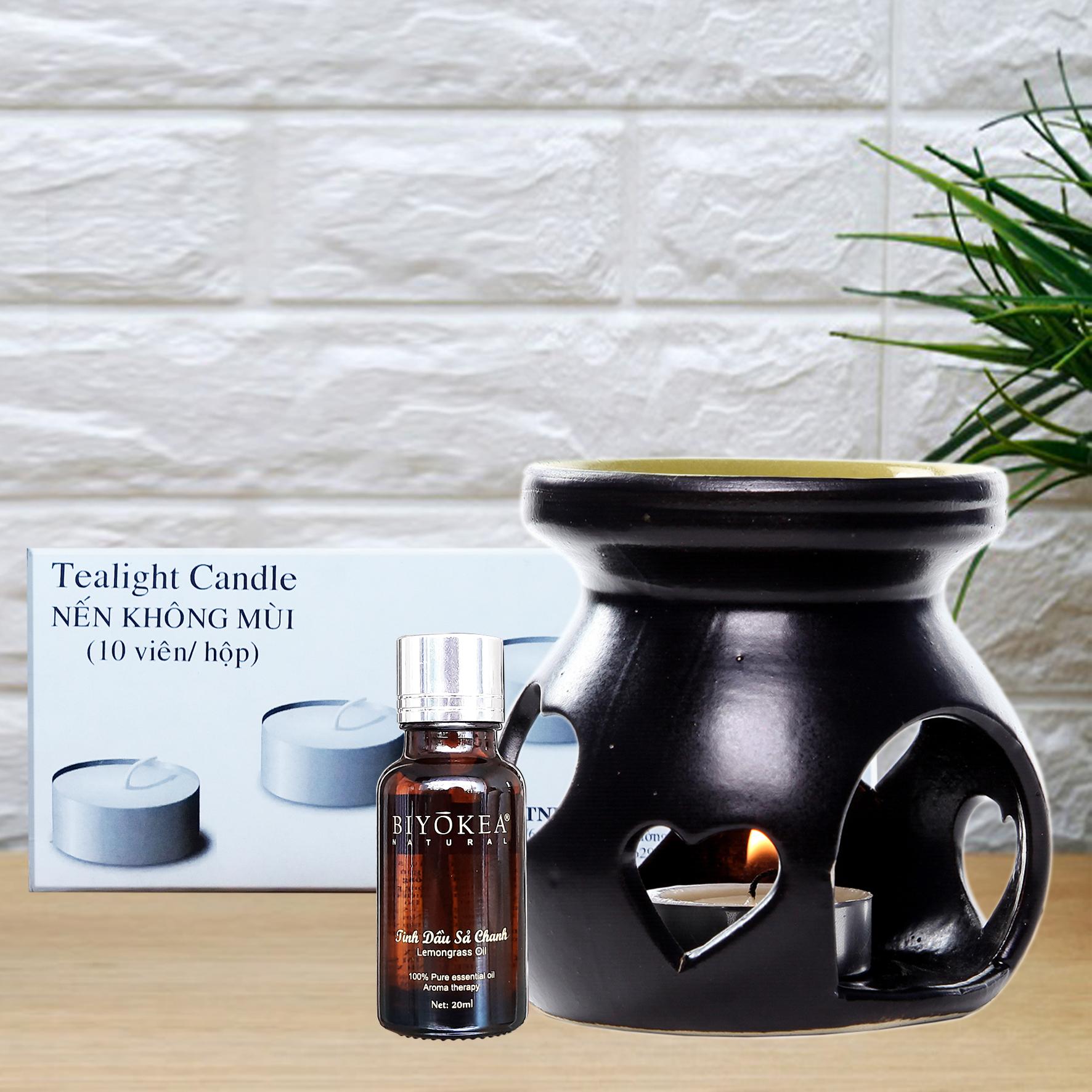 Combo 01 đèn nến xông tinh dầu + 01 chai sả chanh 20ml Biyokea xông hương thơm phòng đuổi muỗi + 01 hộp nến 10 viên