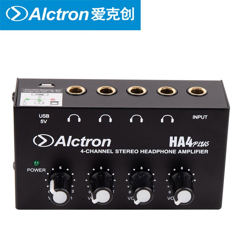 Kèm 04 Jack chuyển đổi 6.5 sang 3.5 - Bộ chia tai nghe 4 cổng Alctron HA4 Plus - Hàng Chính Hãng