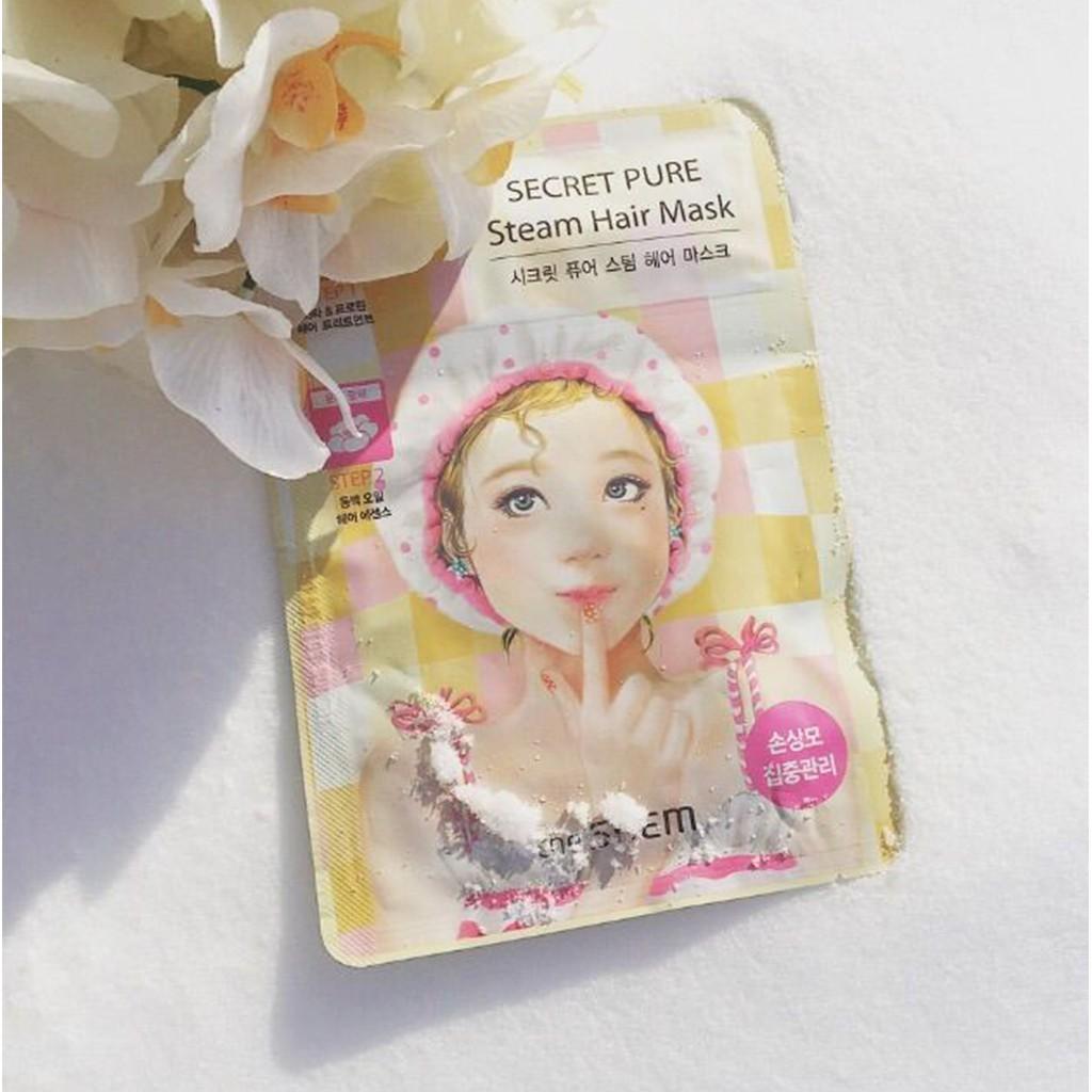 Mặt Nạ Ủ Tóc Cung Cấp Protein Giữ Tóc Mềm Mượt The Saem Secret Pure Steam Hair Mask 15g+5g