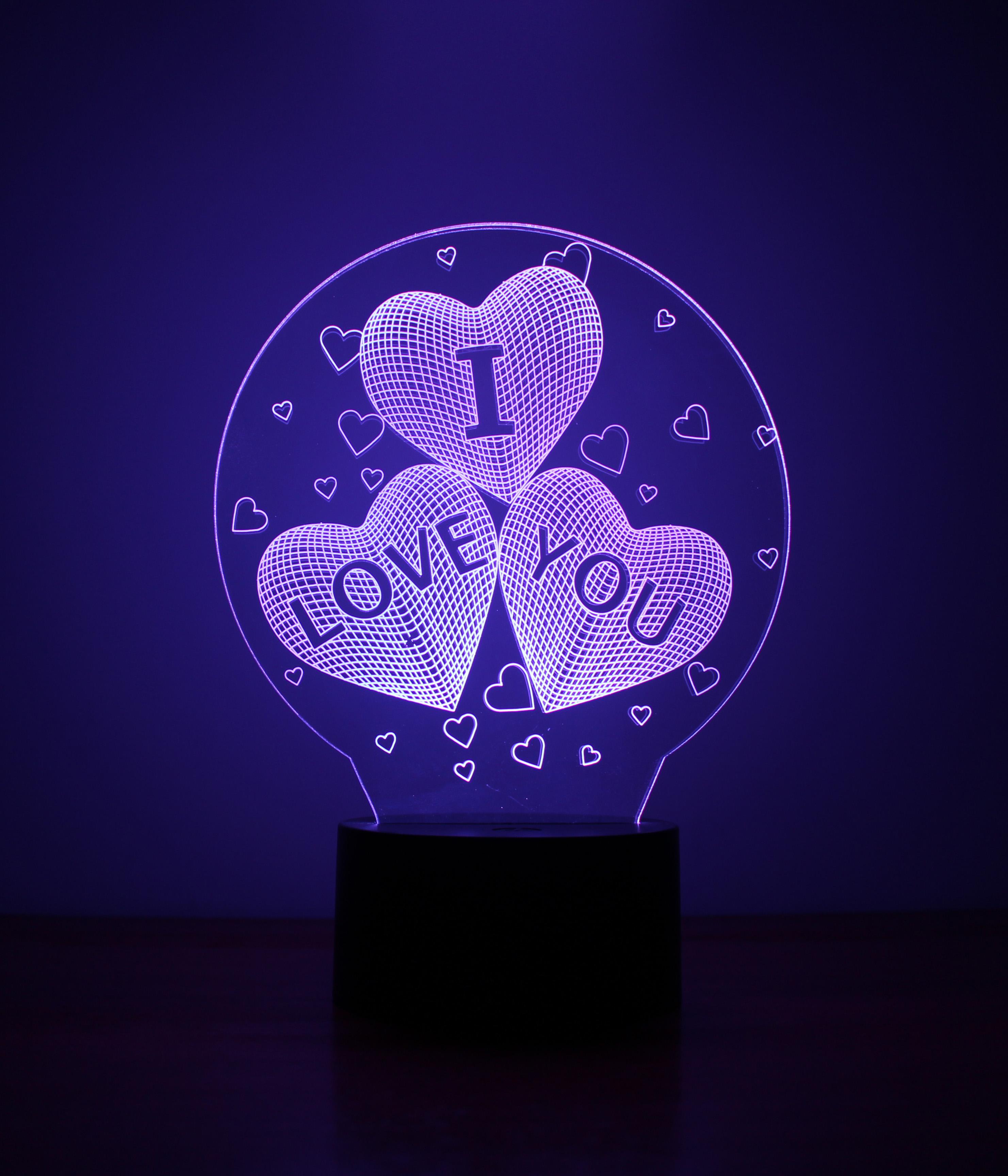 Đèn ngủ 3D - Trái tim 7 màu