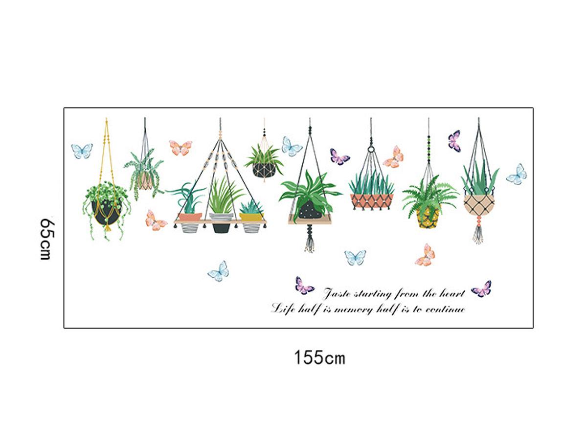 decal dán tường giỏ cây xanh sk9329