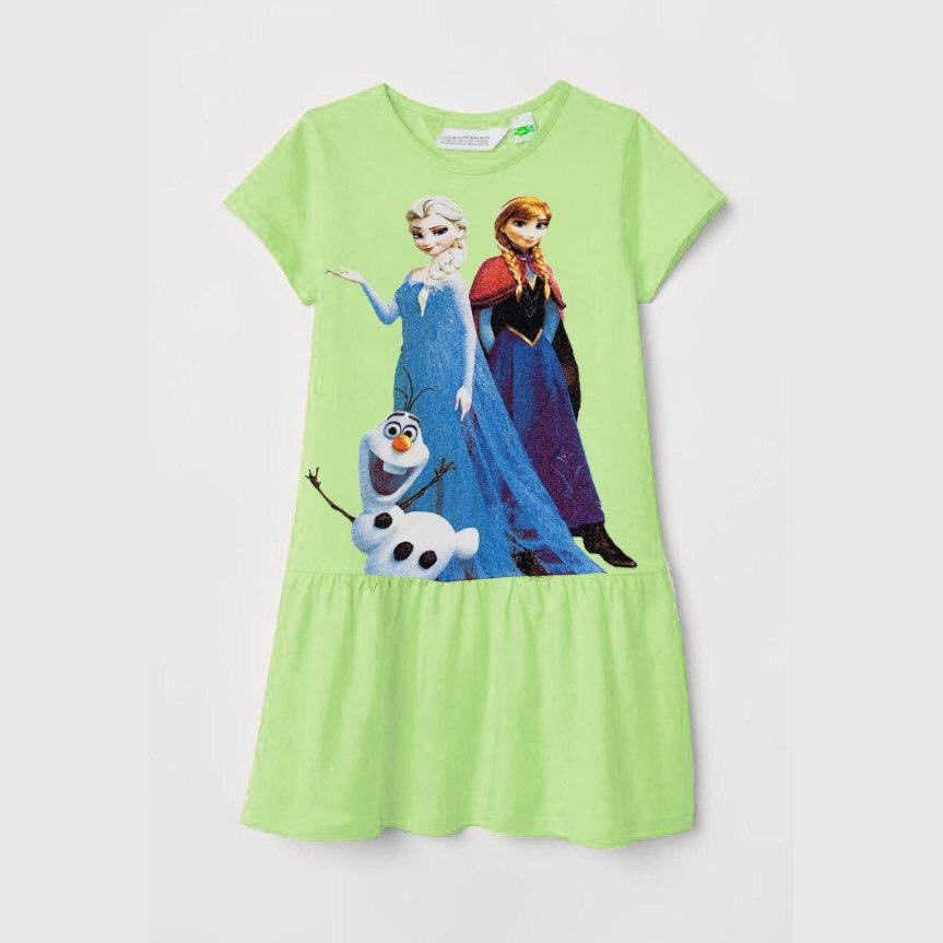 Đầm bé gái họa tiết công chúa Elsa Anna
