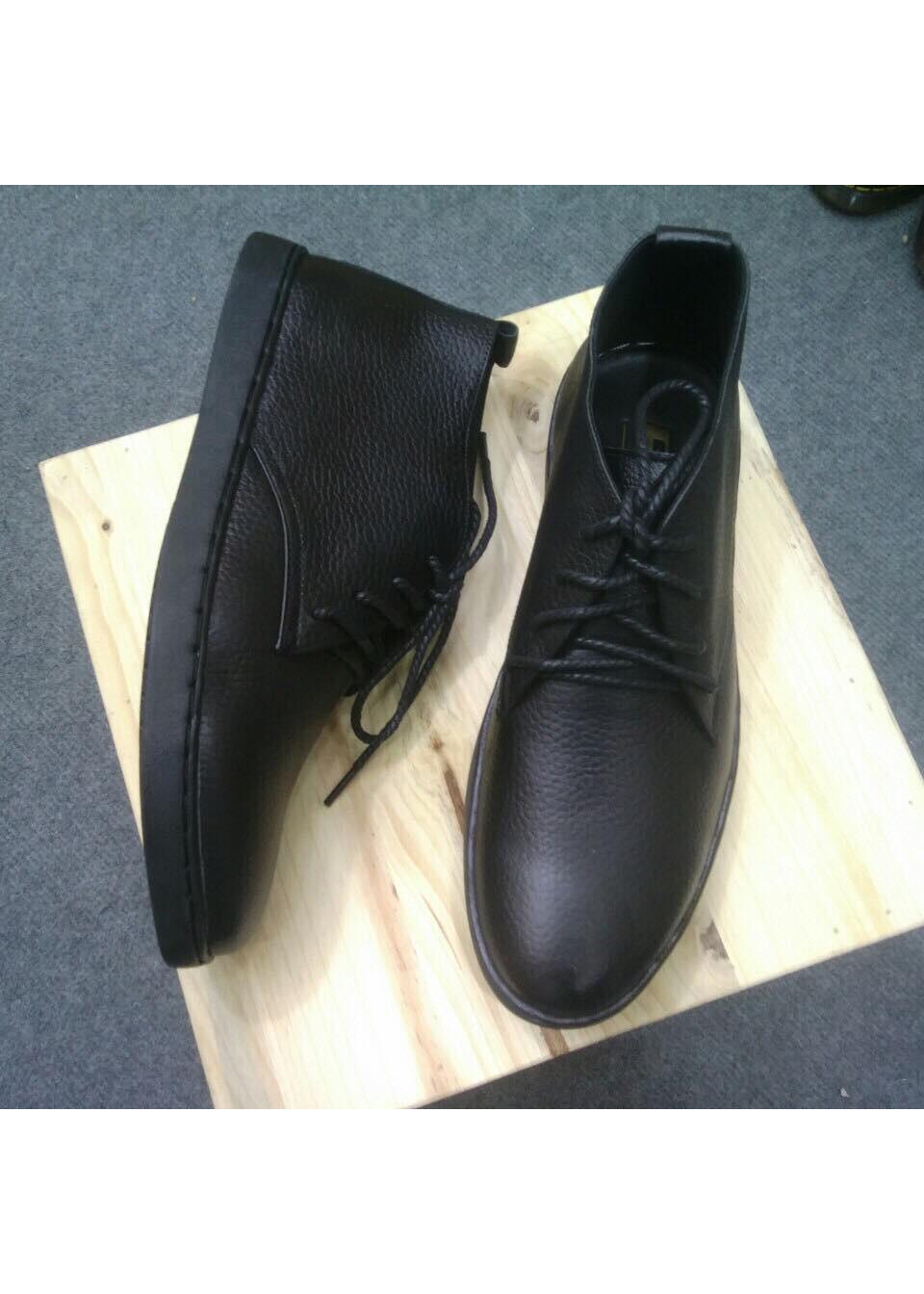 Giày Nam Da Bò Cổ Lửng Đen -GCL01