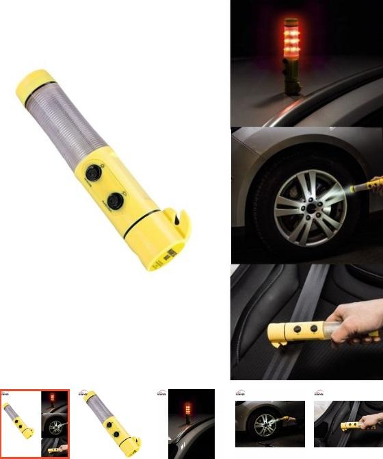 Dụng cụ Búa thoát hiểm xe hơi phá kính, cắt đai, đèn pin, đèn cảnh báo khẩn cấp