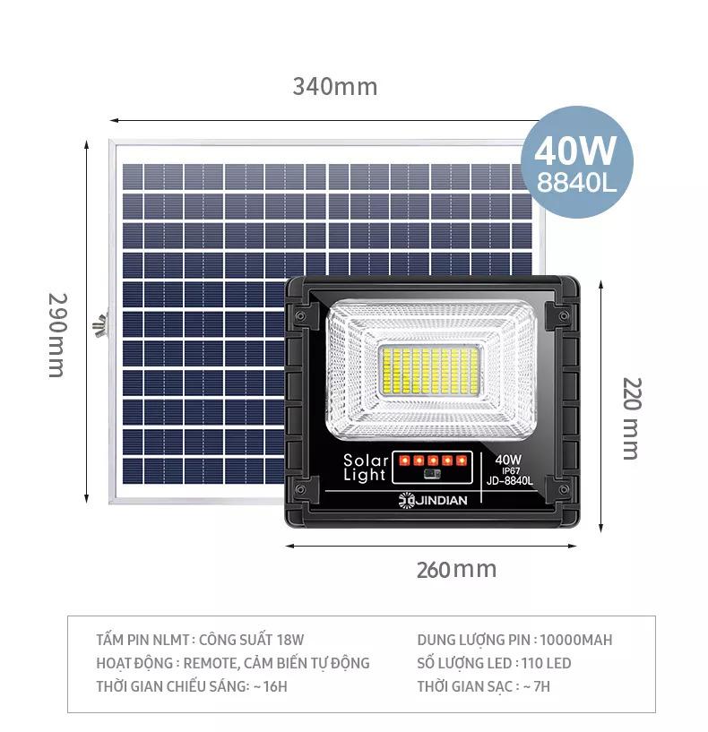 Đèn Năng Lượng Mặt Trời 40W JD8840L - Model 2021   Thời gian chiếu sáng 10-12h, có điều khiển từ xa. Tiết kiệm điện năng, an toàn khi sử dụng