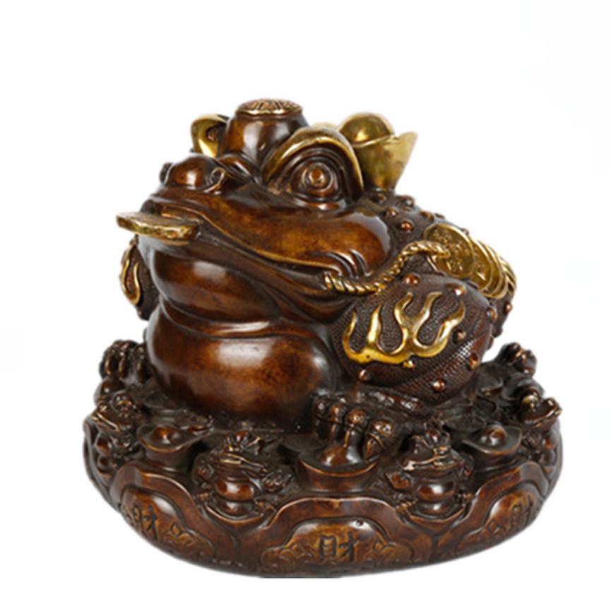 Tượng linh vật thiềm thừ cóc ba chân bằng đồng thau hun giả cổ phong thủy Tâm Thành Phát - Đại