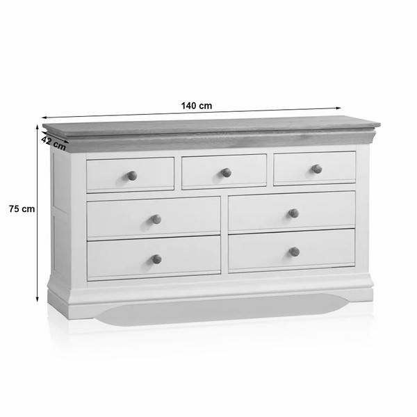 Tủ Ngăn Kéo 3+4 Country Cottage Gỗ Sồi Ibie BSK34COUO - Trắng (140 x 42 cm)