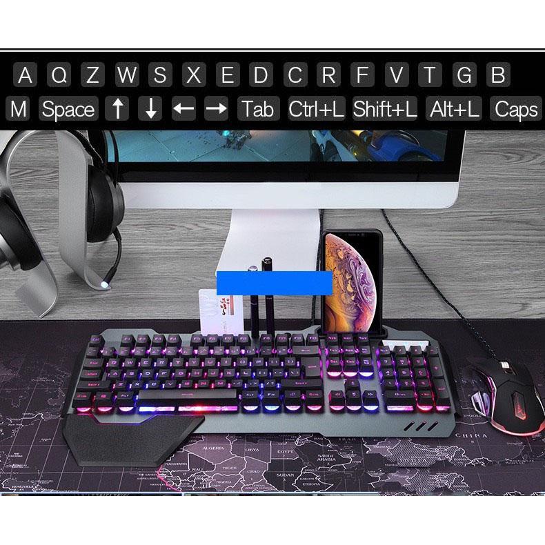 Bàn Phím  Giả Cơ Gaming VINETTEAM GẤU TRÚC K618 Super Pro New 2020 Led Đổi Màu 10 Chế Độ Led Khác Nhau Ngang Phím Cơ -Có Khe Để Điện Thoại -Hàng Nhập Khẩu