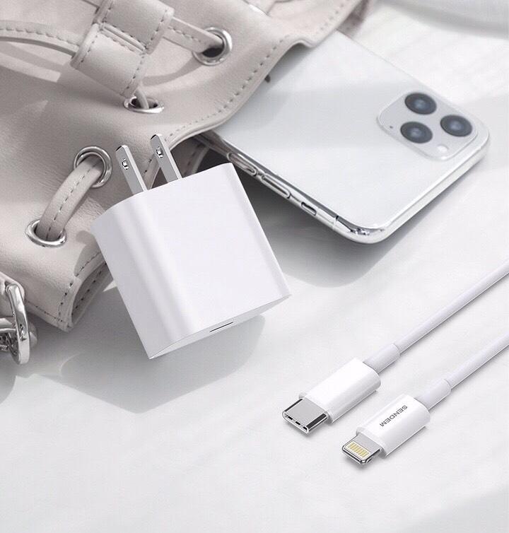 Bộ Sạc Nhanh 20W SENDEM C15 Hỗ Trợ PD Super Chager Dành Cho Đện Thoại iPhone 11/ 11 Pro/ 11 Pro Max, iPhone 12/ 12Pro / 12Pro Max, iPad, Macbook - Chuẩn TypeC to Lightning - Hàng chính hãng