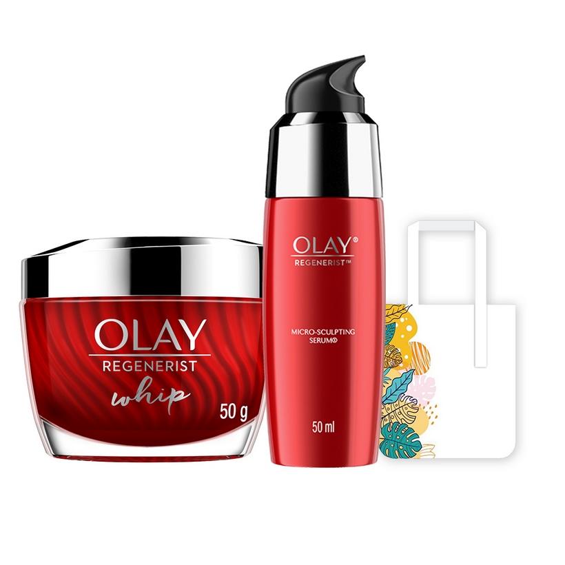 Bộ 2 sản phẩm chống lão hóa hoàn hảo Olay Regenerist Advance Anti Aging: Kem dưỡng ẩm Whips 50g + Tinh Chất Vi Dưỡng Olay Regenerist 50ml [Tặng Túi Tote Thiết Kế Mới]