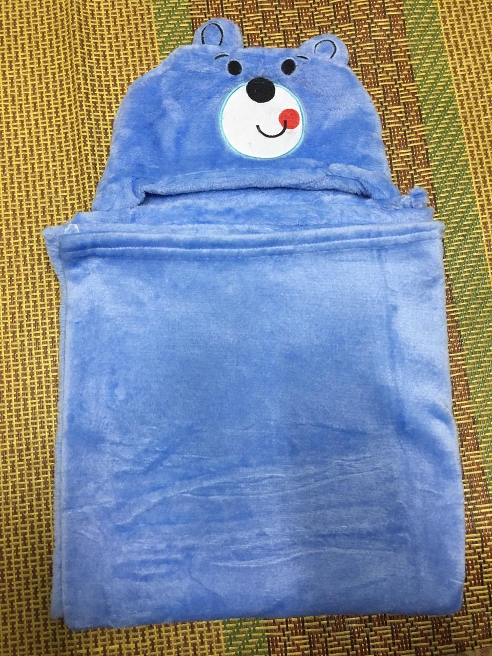 Chăn cuốn sơ sinh có mũ ủ ấm cho bé