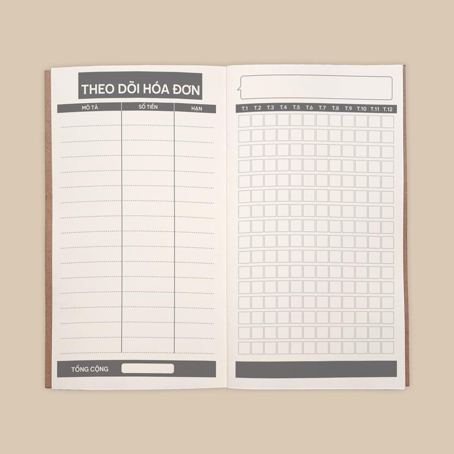 """Sổ tay Planner """"Giữ Tiền"""" bìa cứng in họa tiết 21x11 cm tài chính cá nhân, thu chi, tiết kiệm"""
