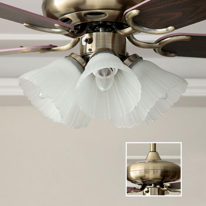 Quạt trần đèn 5 cánh gỗ có điều khiển từ xa, Quạt trần đèn trang trí nội thất