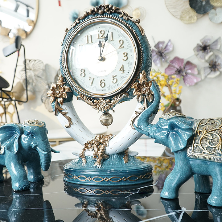 Đồng hồ để bàn hình cặp voi DH-DH2033