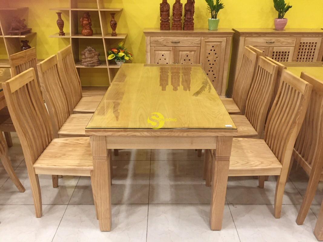 Bộ bàn ăn gỗ sồi chữ nhật tiêu chuẩn xuất khẩu