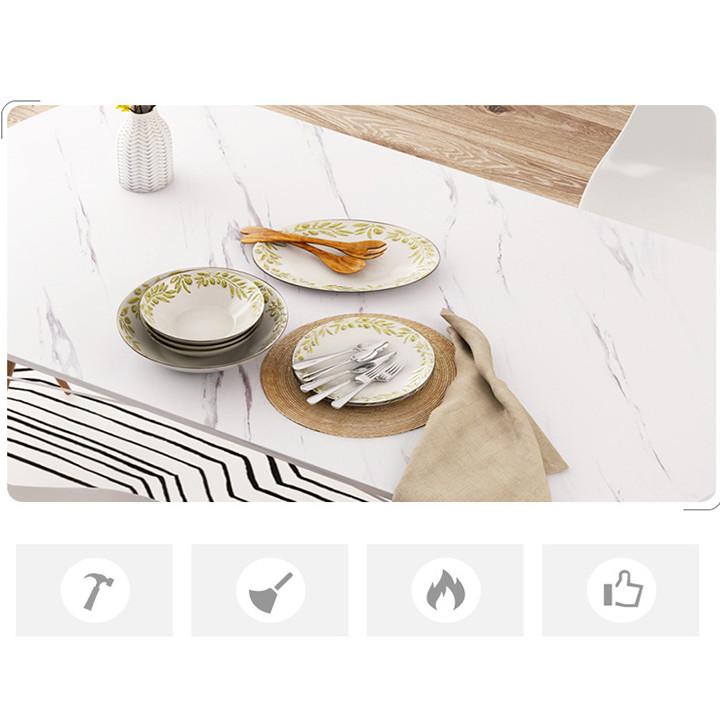 Bàn ăn tối giản mặt giả vân đá (kt 73x120x60/80cm)