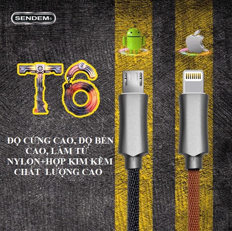 Cáp sạc nhanh SENDEM T6 MicroUSB bọc kim loai dây dù (Giao màu ngẫu nhiên) - Hàng chính hãng