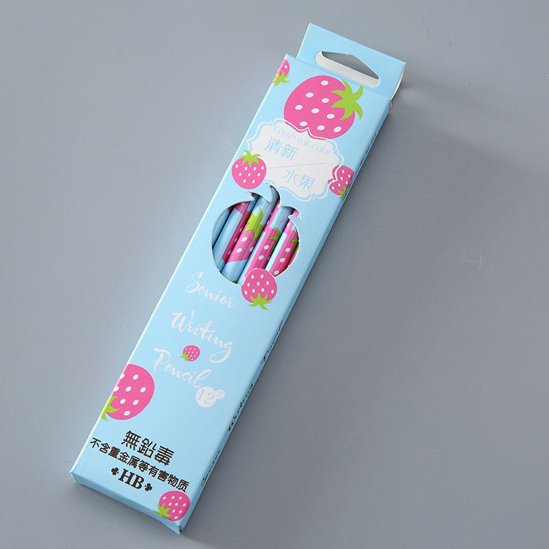 Hộp 12 cây bút chì HB hình hoa quả sắc màu cute dễ thương
