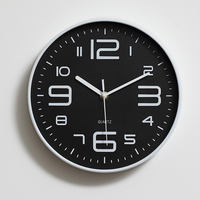 Đồng hồ treo tường tròn Quartz nhựa basic đính đá chữ số lớn 30cm