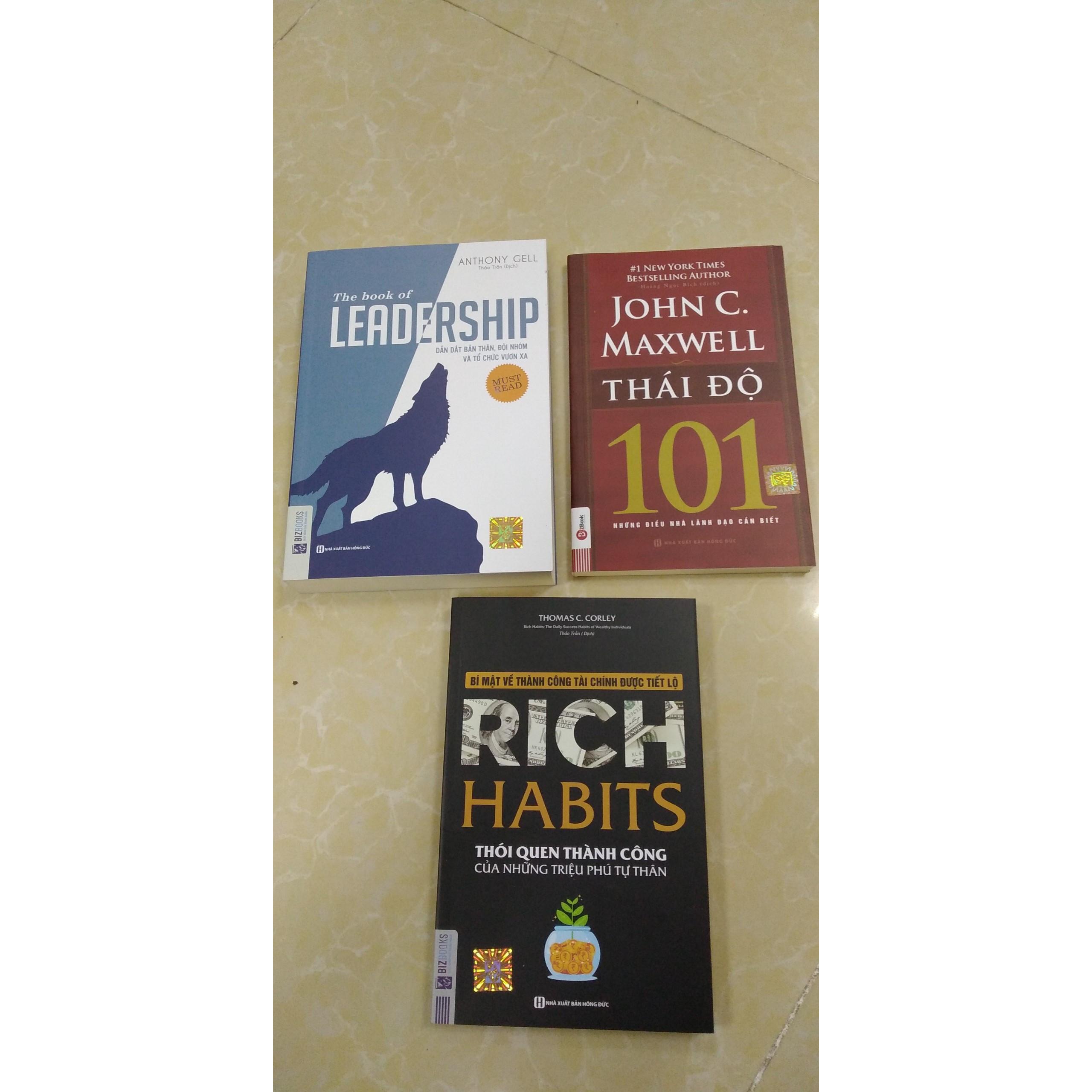 Combo 3 cuốn sách Rich Habits thói quen thành công của những triệu phú tự thân  Leadership dẫn dắt bản thân,đội nhóm vươn xa  101 thái độ