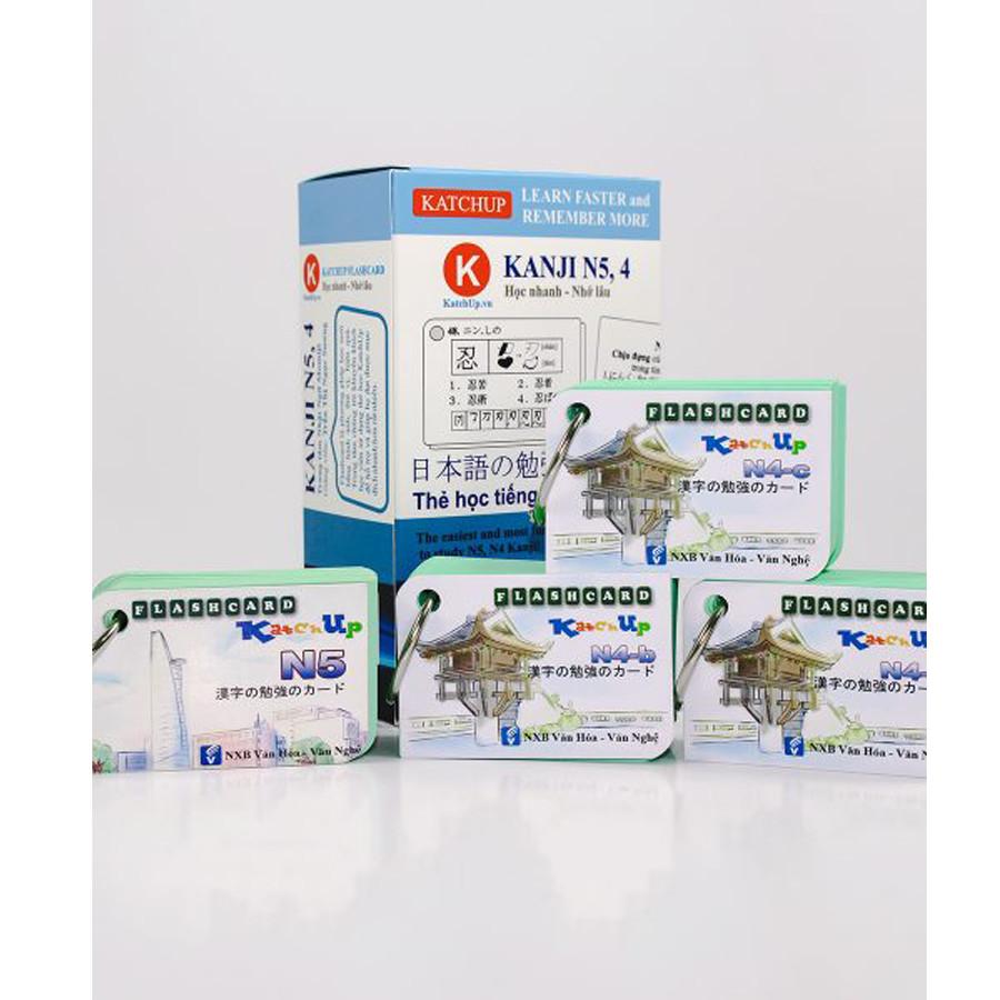 Combo trọn bộ KatchUp Flashcard sơ cấp tiếng Nhật N5,4 từ vựng, ngữ pháp, kanji, bảng chữ cái
