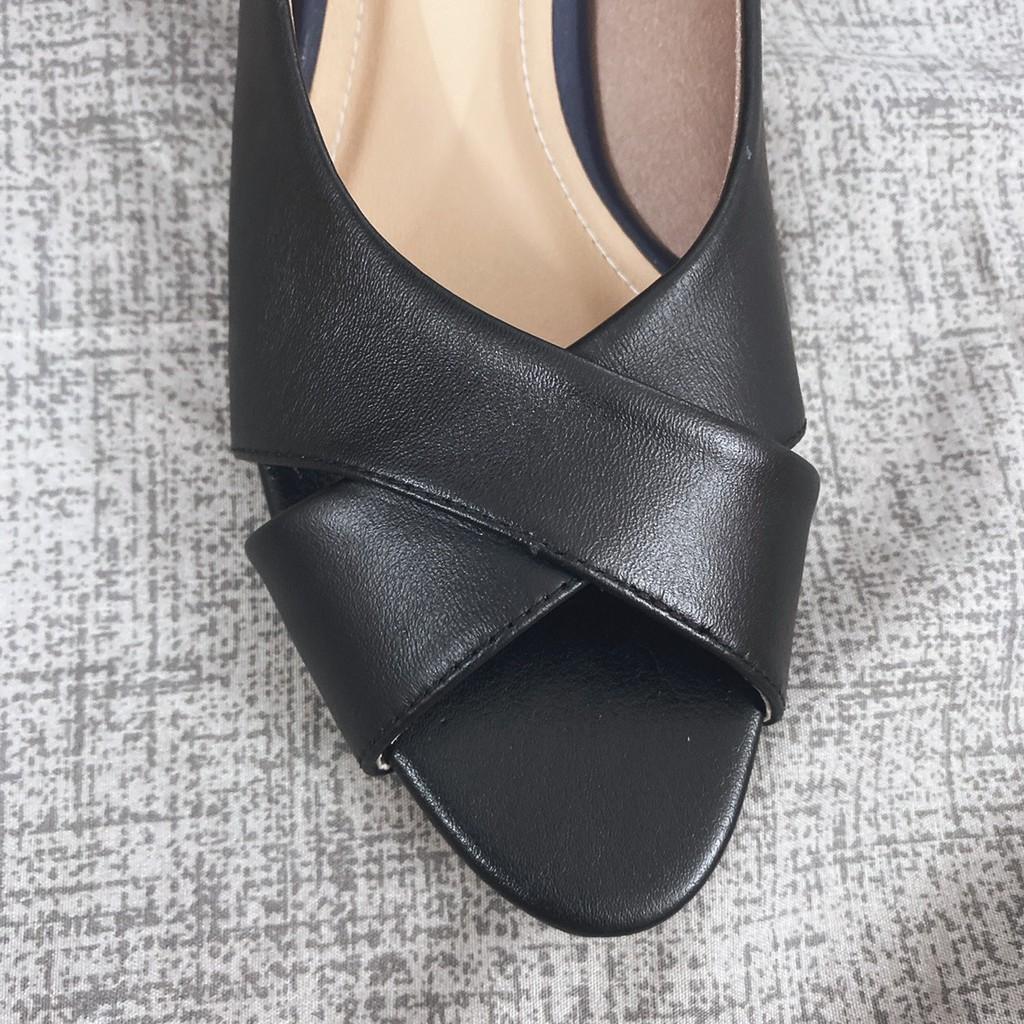Giày Búp Bê Big Size Hở Mũi Công Sở Đen và Nude HIMI160