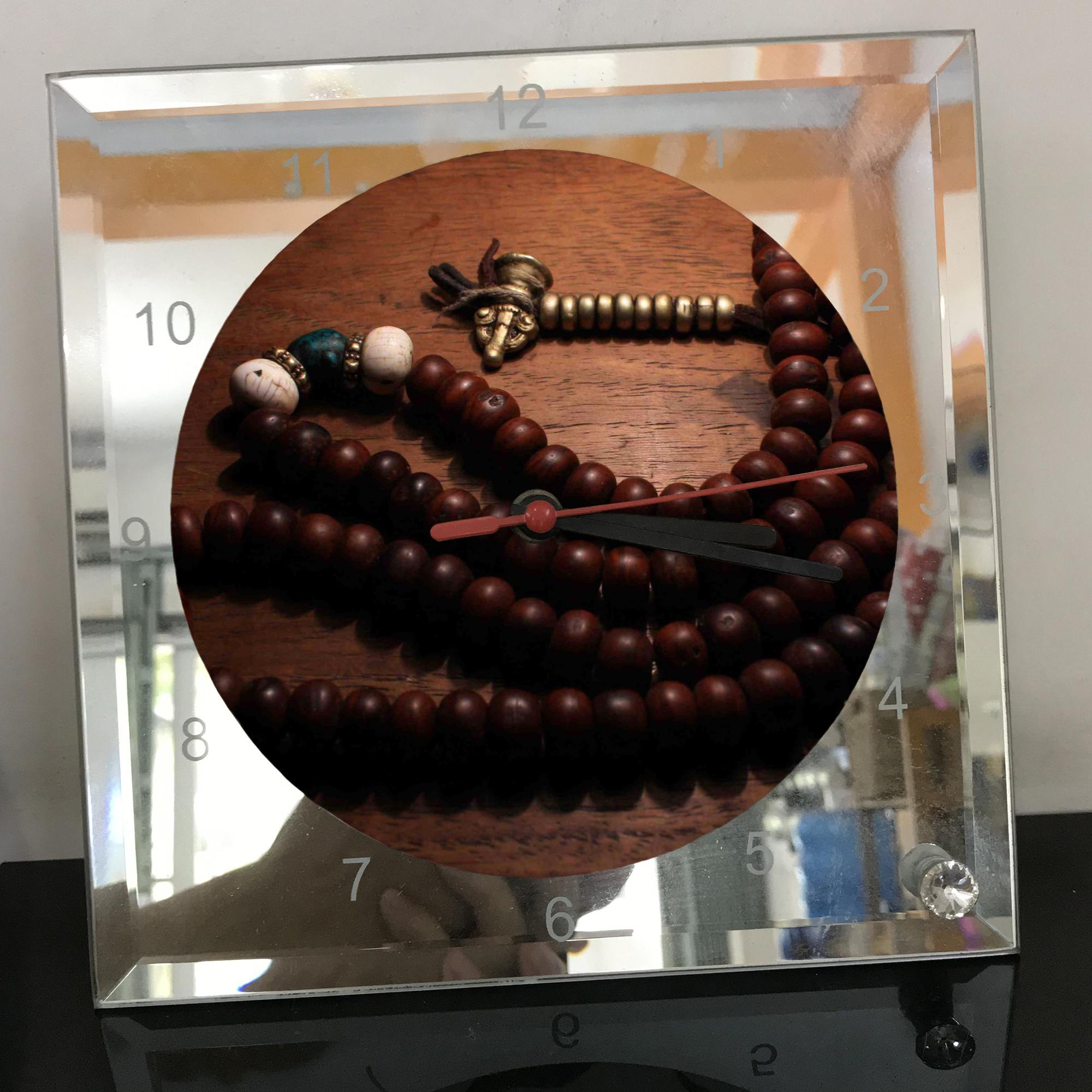 Đồng hồ thủy tinh vuông 20x20 in hình Buddhism - đạo phật (17) . Đồng hồ thủy tinh để bàn trang trí đẹp chủ đề tôn giáo