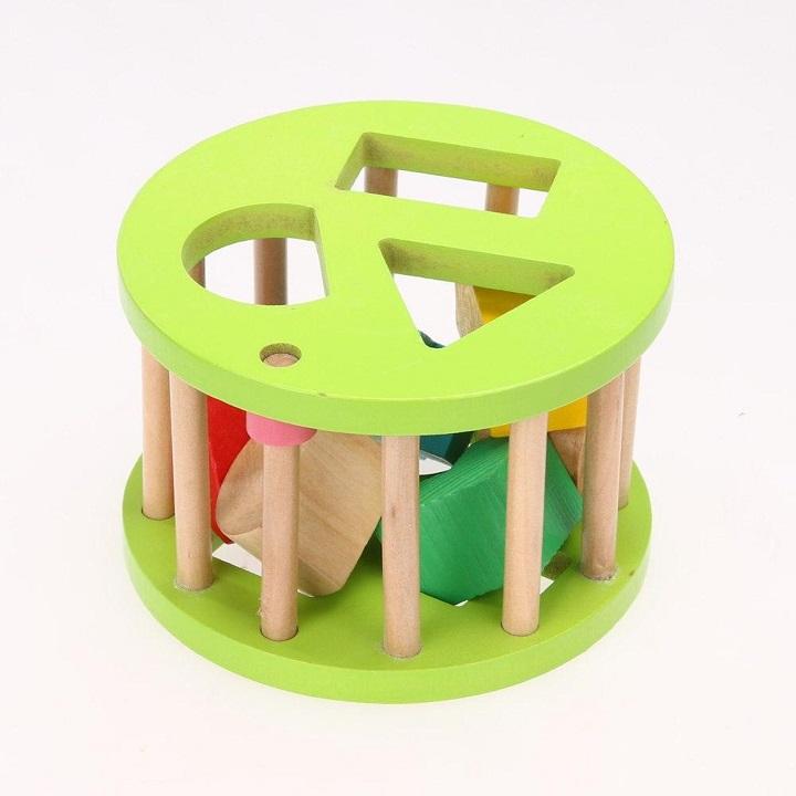 Xe Kéo chuyển động Thả Hình Khối Vịt con Đồ chơi gỗ