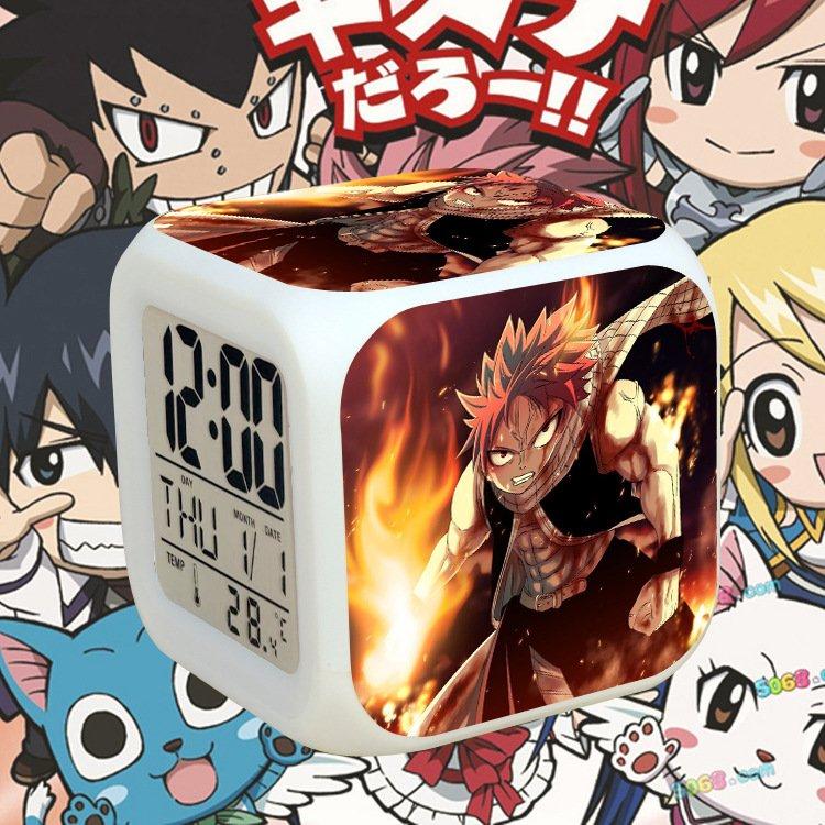 Đồng hồ báo thức để bàn in hình HỘI PHÁP SƯ FAIRY TAIL đèn LED đổi màu anime chibi tiện lợi xinh xắn