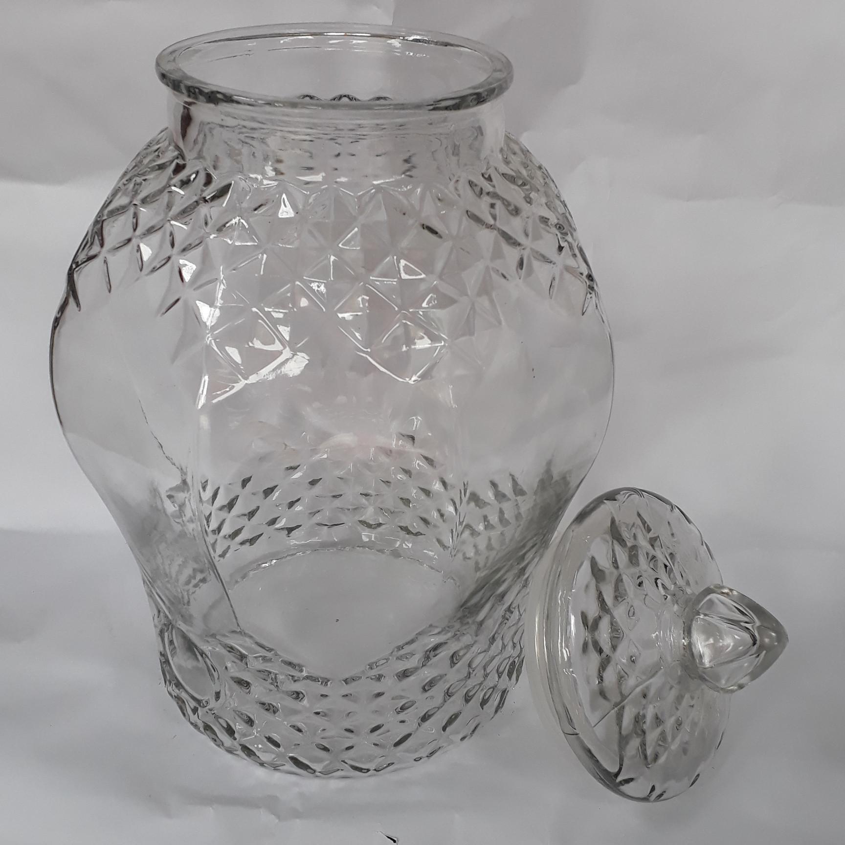Bình ngâm rượu thủy tinh Kim cương -  không van -  25 lít - tặng  đế gỗ.