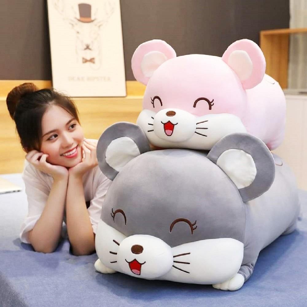 Gấu bông gối ôm chuột ngủ cao cấp 75cm, gấu bông chuột, gối ôm xinh xắn, gối ôm dành cho bé, thú nhồi bông đáng yêu, gối ôm gấu bông - Tặng khẩu trang thời trang vải Su màu ngẫu nhiên