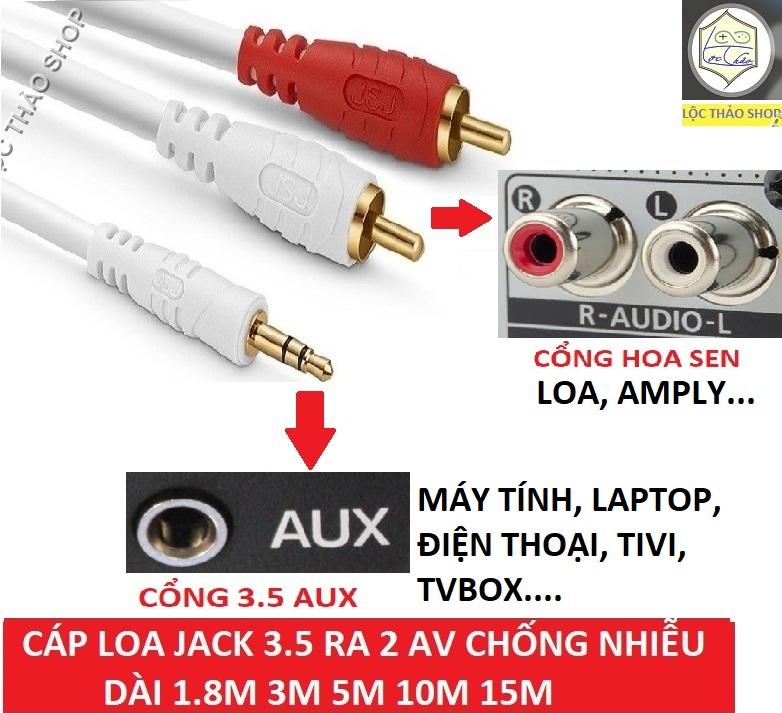 Cáp loa 1 đầu 3.5 ra 2 bông sen RCA dài 1.8M, 3M, 5M, 10M choseal lõi đồng loại tốt (Dây loa 1 ra 2)