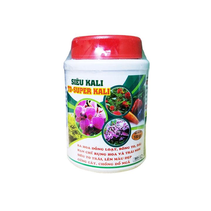 Phân bón Siêu Kali TD - Super kali 100g (NPK Bổ sung vi lượng 7-5-44 ABIO-34) | Ra hoa đồng loạt, bông to, dài - Chuyên dùng cho hoa lan, hoa hồng, bonsai, cây ăn trái