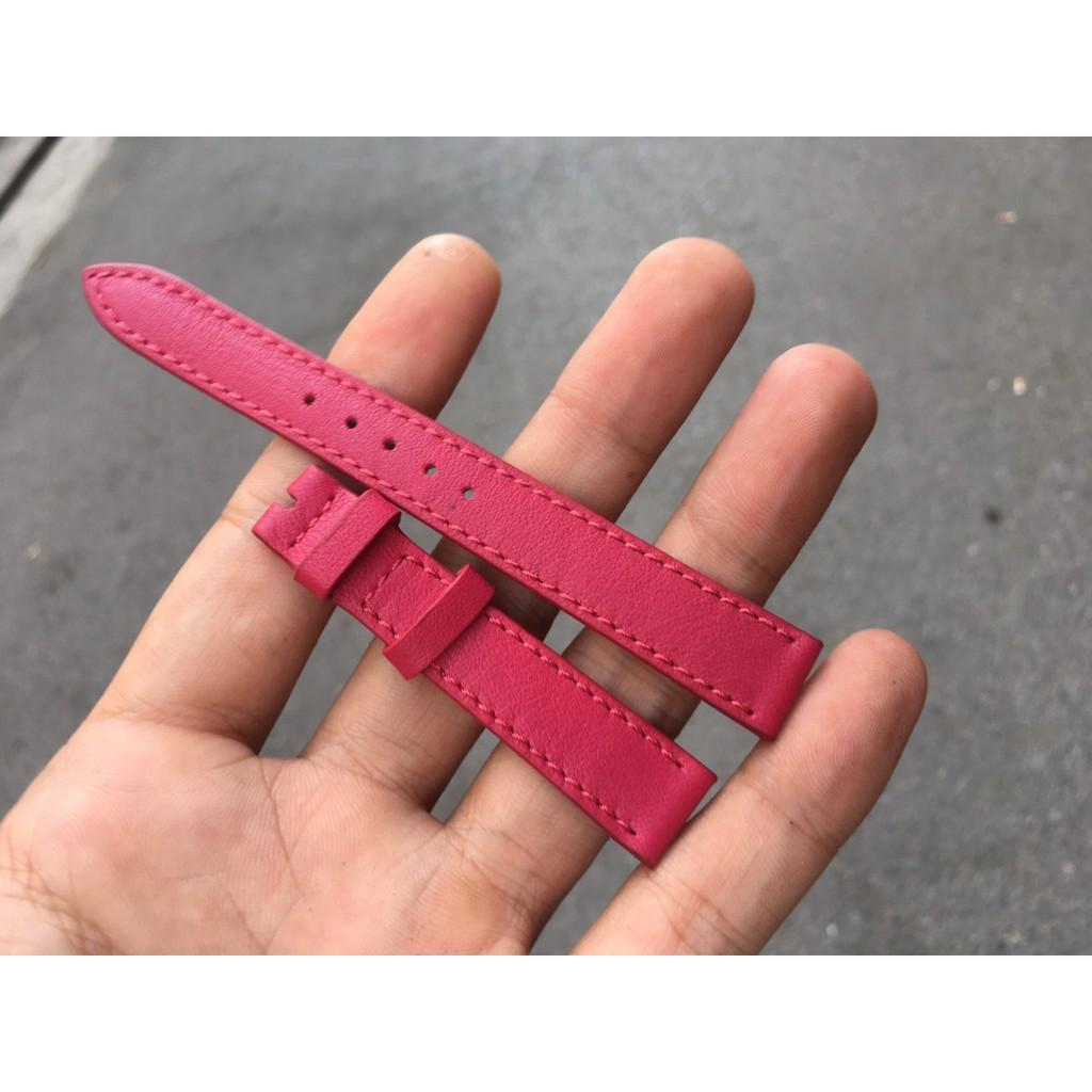 Dây Đồng Hồ Da Bò Handmade Màu Hồng Đậm Cho Nữ Đủ Size 11mm đến 17mm