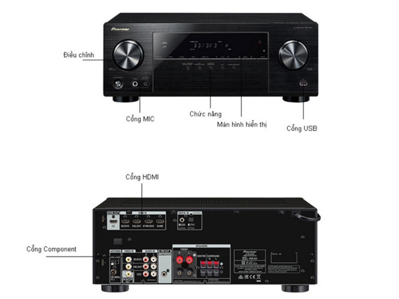 Amply PIONEER VSX-531 5.1 BUILT-IN BLUETOOTH - BLACK hàng chính hãng new 100%