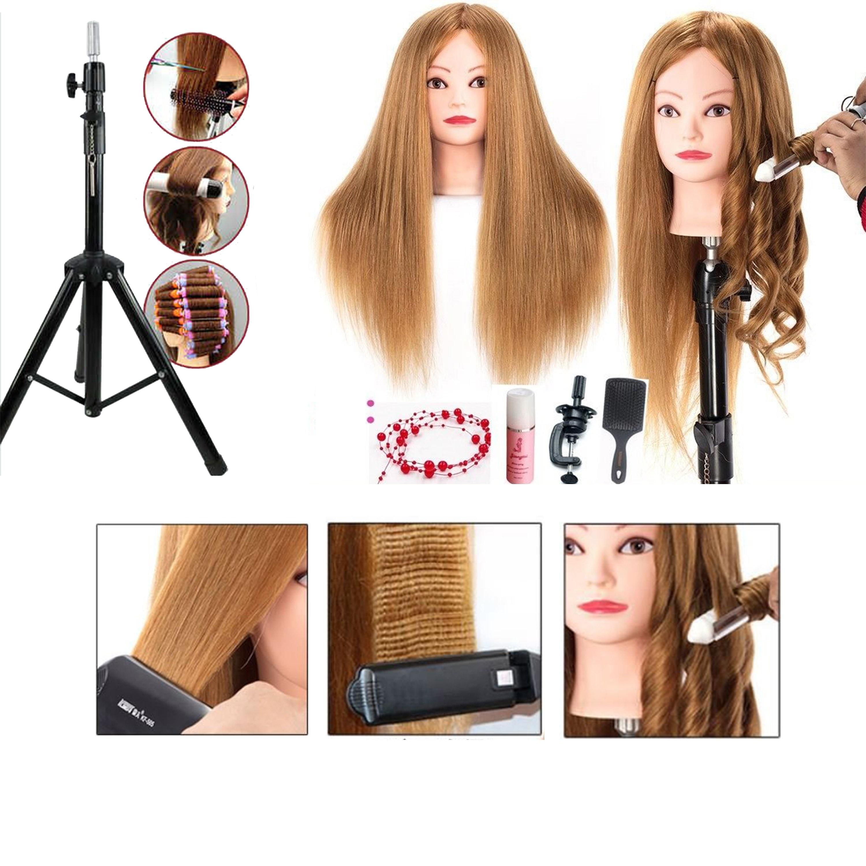 Đầu Canh Nữ Tóc Thật 85% Chịu Nhiệt Tóc Dài 60cm Thực Hành Tạo Kiểu Tóc Uốn, duỗi, dập xù