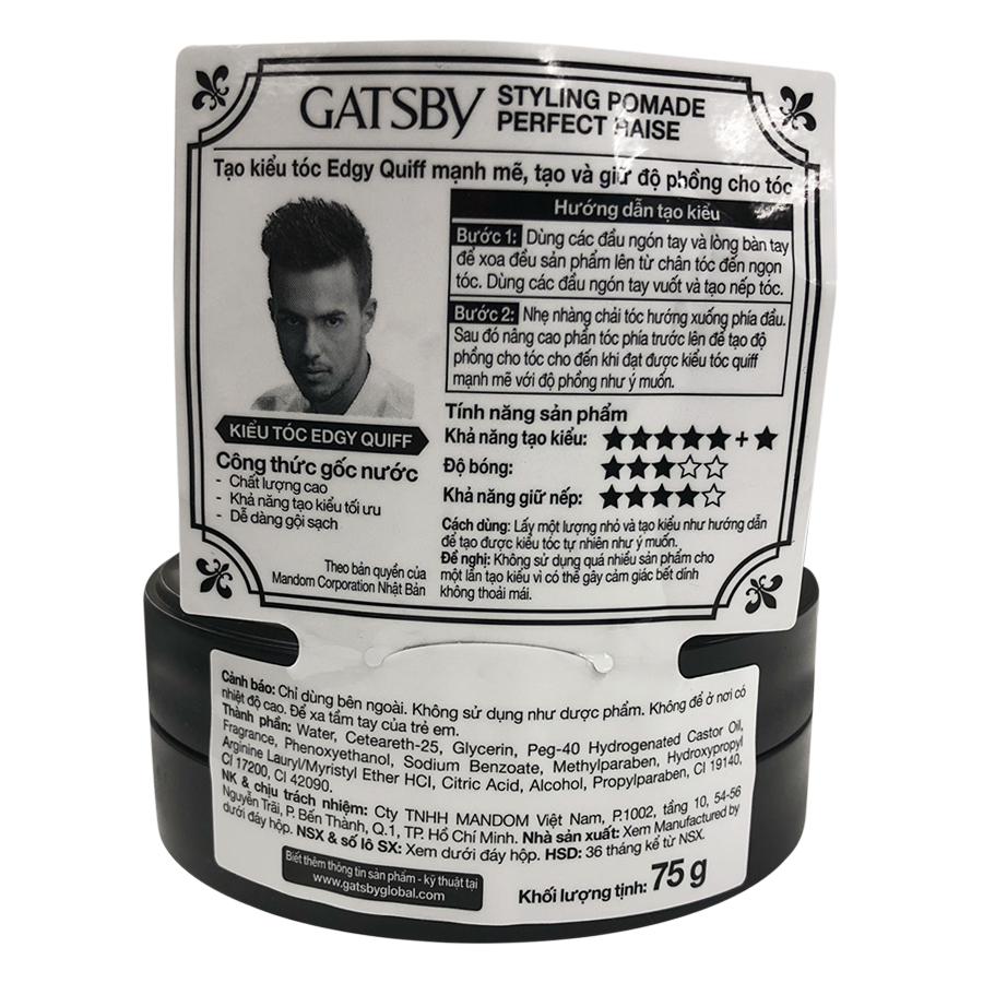 Wax Vuốt Tóc Gatsby Pomade Perfect Raise (75g) - 100922274