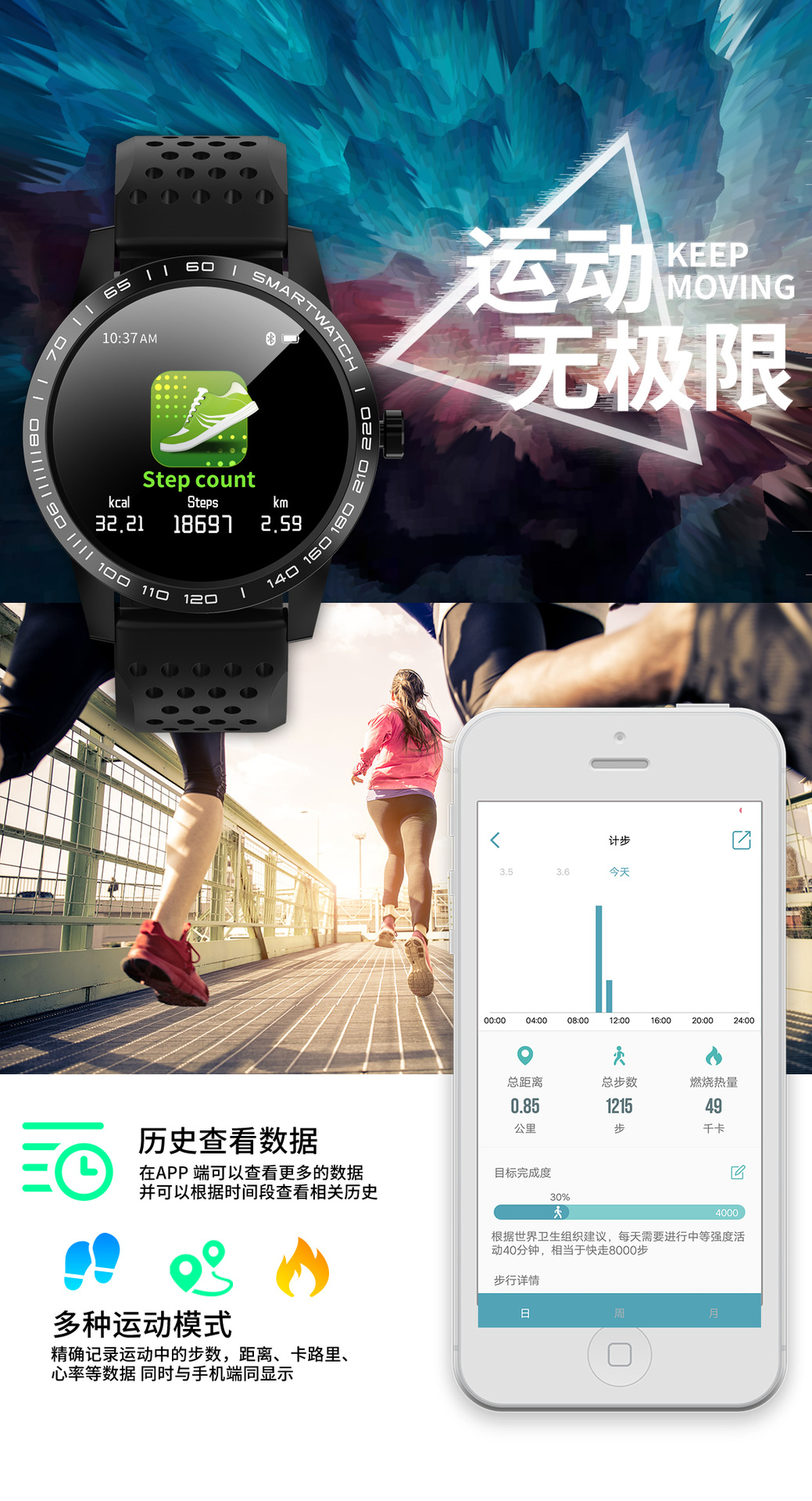 Đồng hồ thông minh đo nhịp tim, huyết áp chống nước cao
