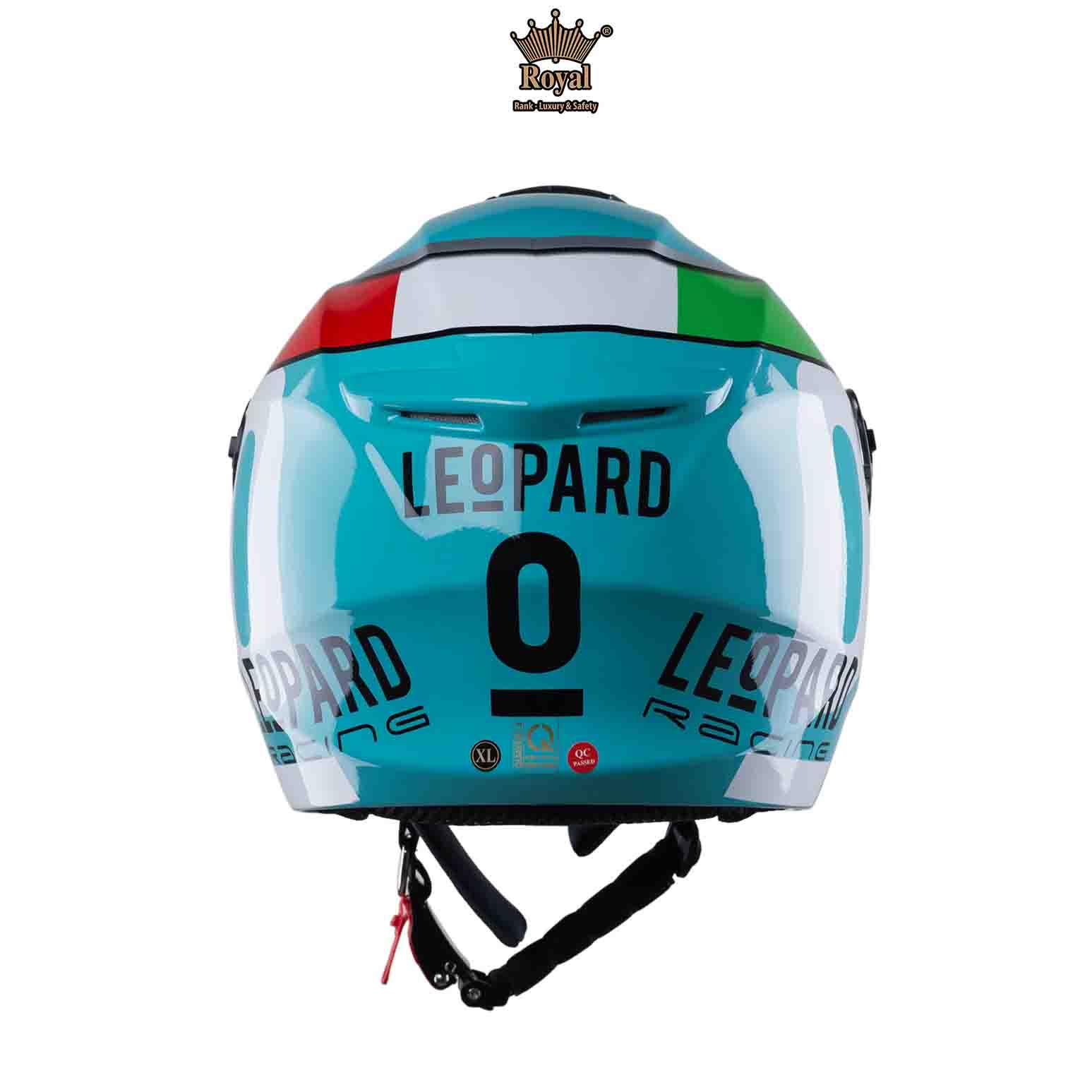 [Nontrum_vn]Nón bảo hiểm 3/4 Royal XH01 tem Leopard freesize vòng đầu từ 55-58cm