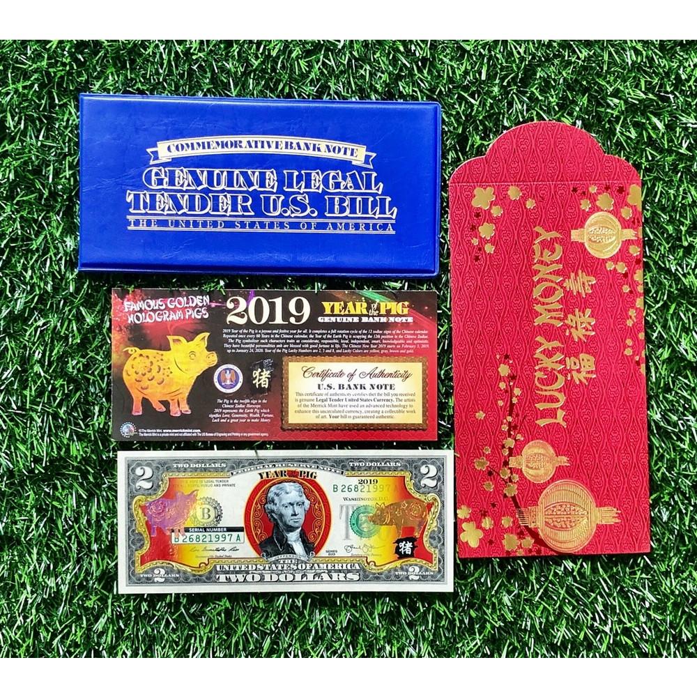 Combo tờ 2 Đôla con heo vàng Mỹ đầy đủ phụ kiện, quà tặng may mắn ý nghĩa cho người tuổi Hợi - The Merrick Mint