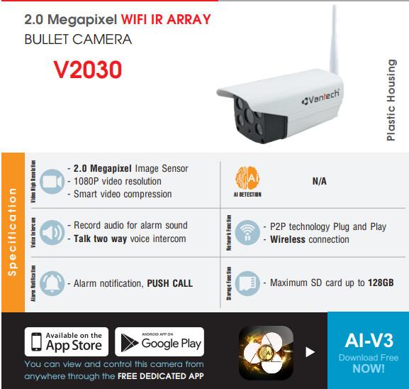 Camera Ip Wifi Ngoài Trời Vantech V2030 Full HD 1080P - Hàng Chính Hãng